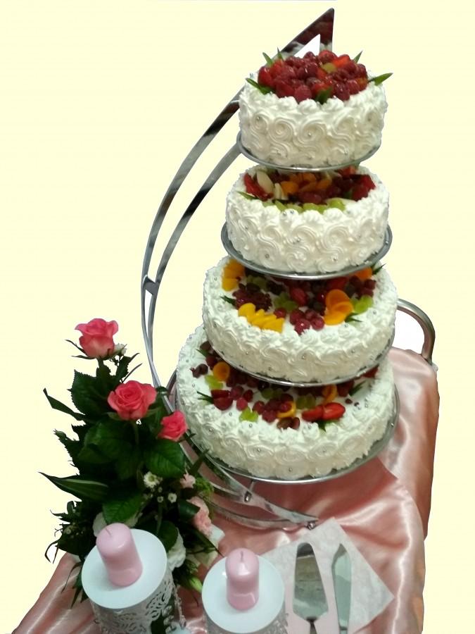 Tort Weselny - tradycyjny, dekoracja owocowa