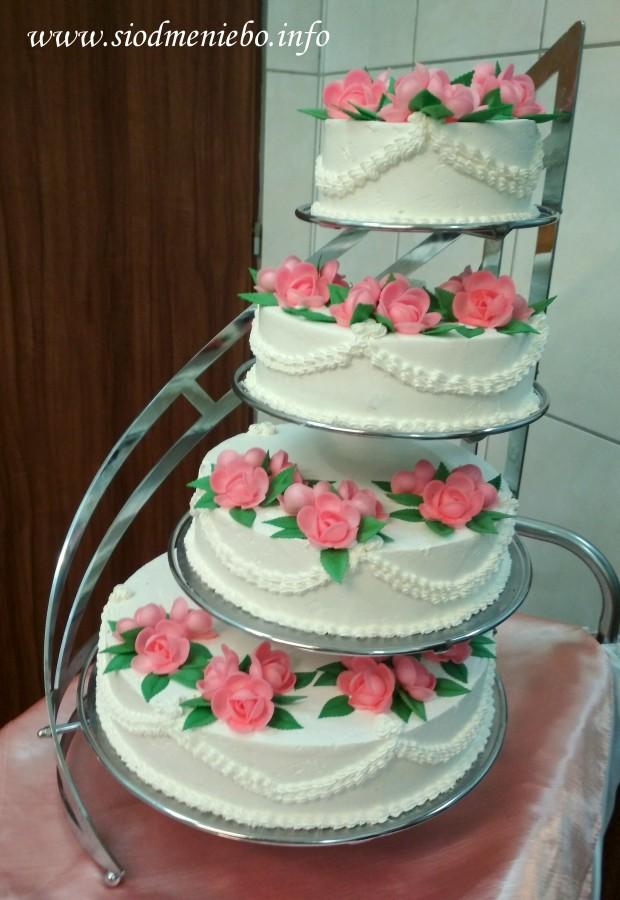 Tort Weselny - tradycyjny, dekoracja opłatkowa